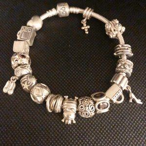 Pandora Bracelet with Pandora Charms Authenic